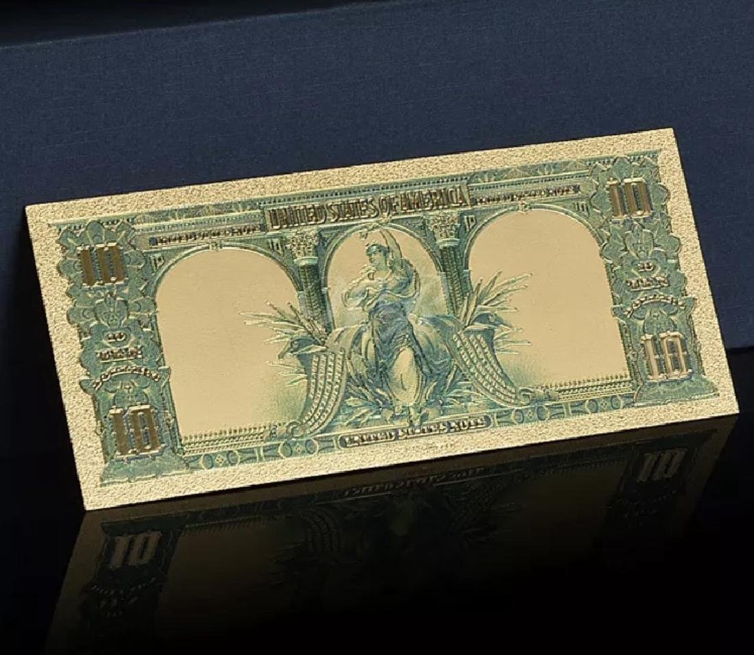 1901 Lab Tested Pure 24k Gold Bison $10 Banknote - 4