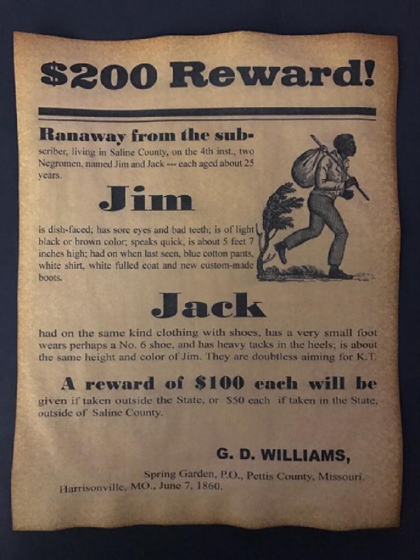Black Americana Runaway Slave Reward Poster