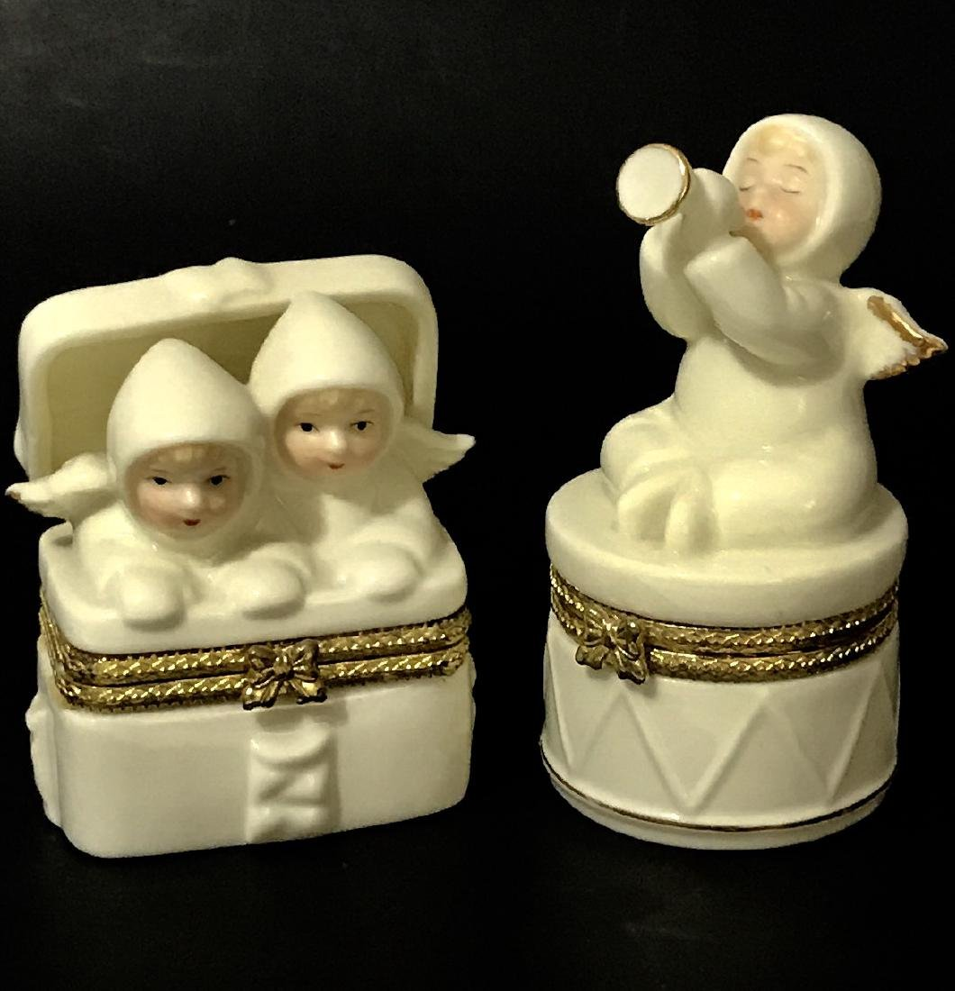 Lot of 2 VTG. Signed Porcelain Angel Trinket Boxes