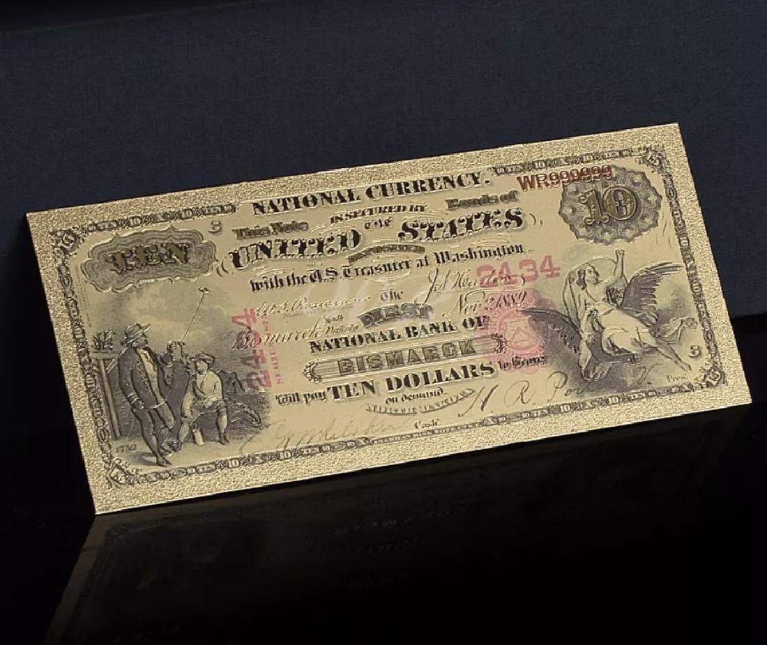 1875 – 24k Gold $10 - U.S. Banknote Currency Bill - 3