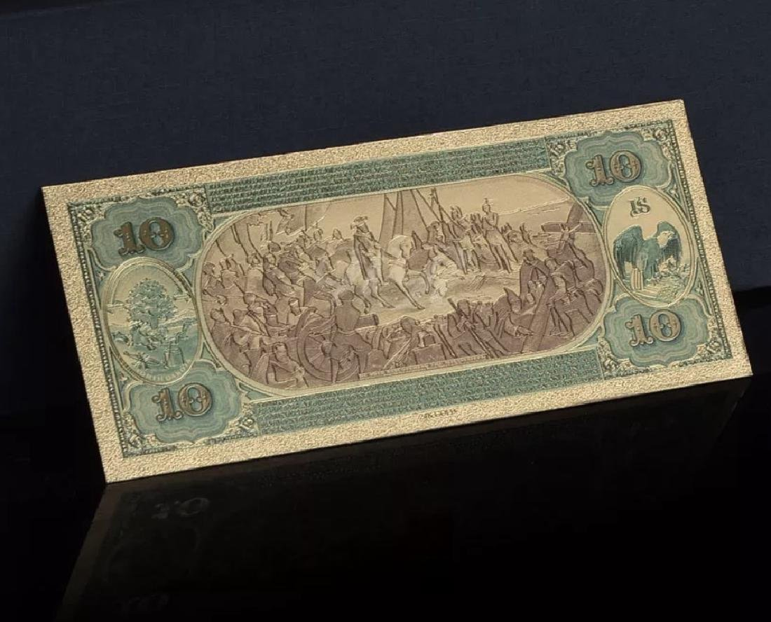 1875 – 24k Gold $10 - U.S. Banknote Currency Bill - 4