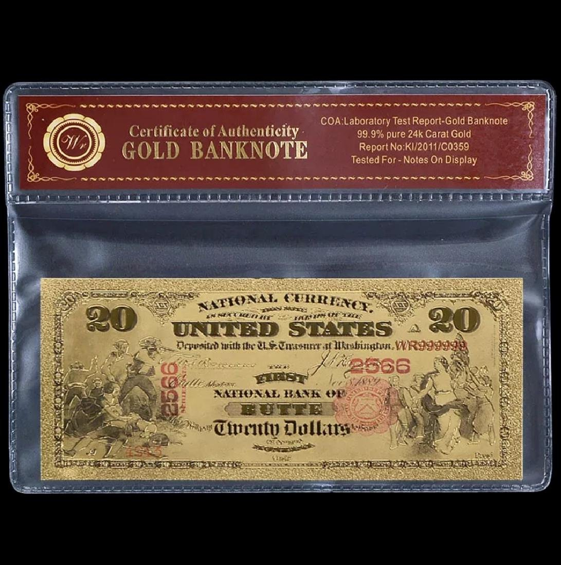 1875 – 24k Gold $20 - U.S. Banknote Currency Bill