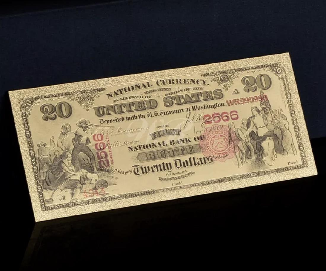 1875 – 24k Gold $20 - U.S. Banknote Currency Bill - 3