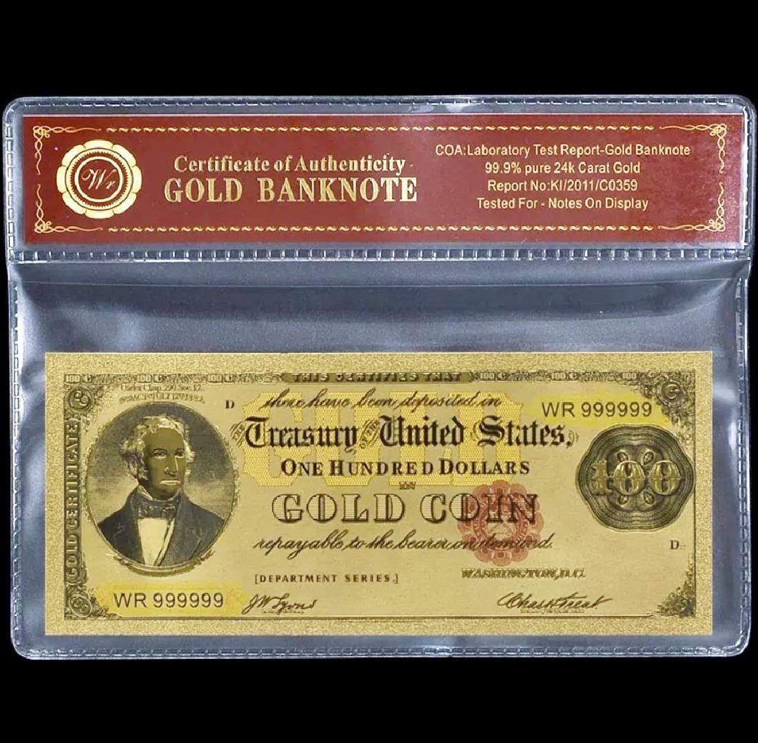 1882 – 24k Gold $100 - U.S. Gold Certificate Bill