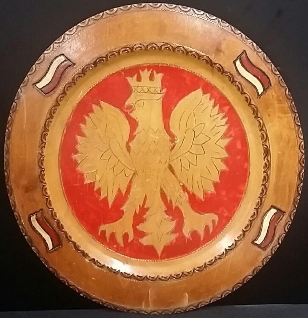 Hand Carved Vintage Russian Eagle Platter