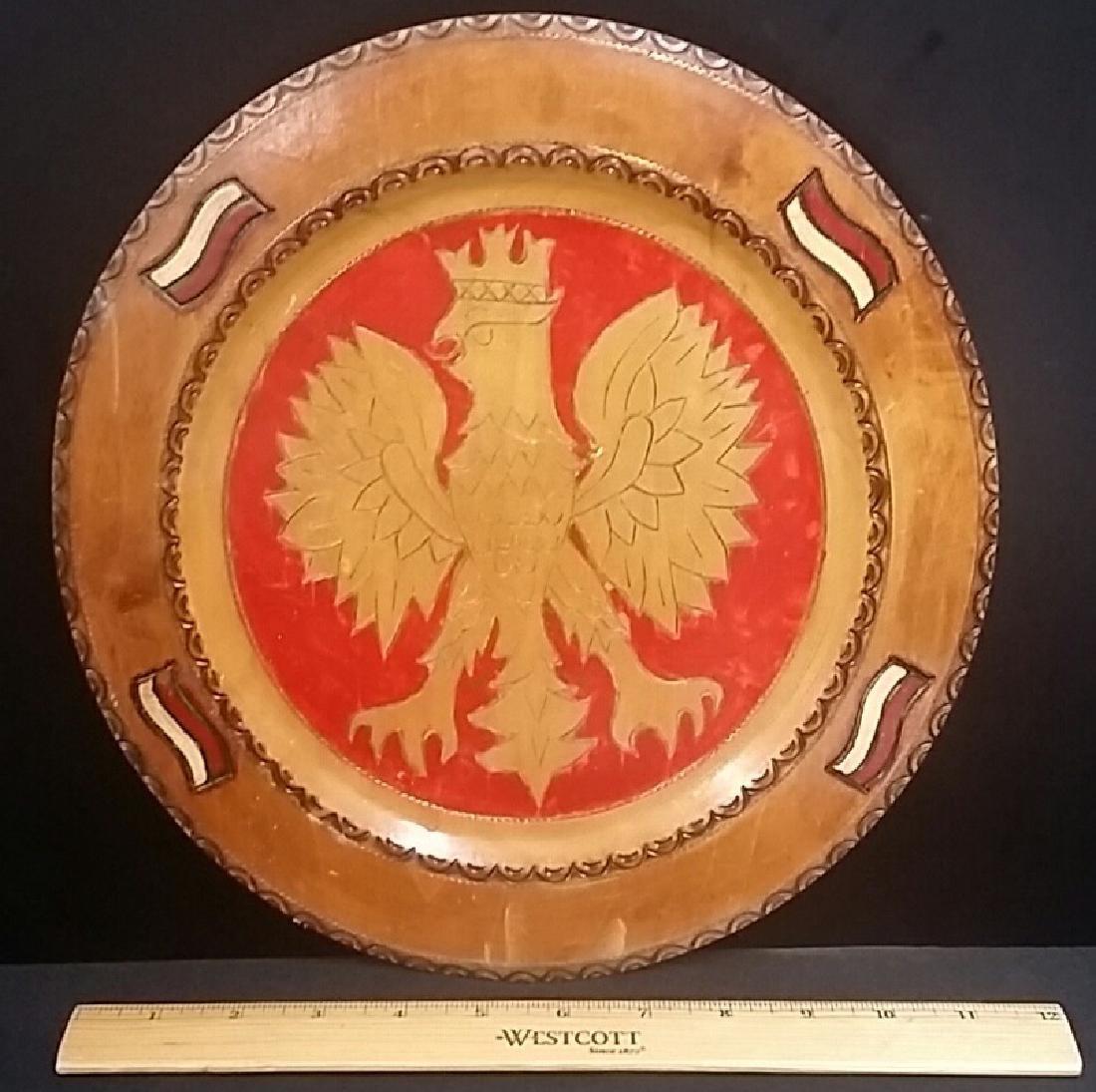 Hand Carved Vintage Russian Eagle Platter - 2