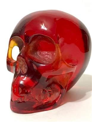 Solid Ornately Carved Red Burmese Amber SKULL