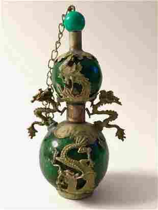 Chinese Folk Art Green JADE & SILVER Snuff Bottle