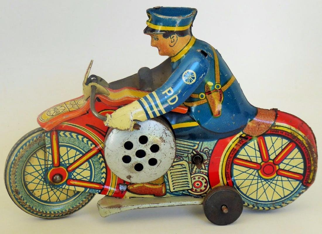 Large 1930s Marx PD Siren Wind Up Tin Motorcycle