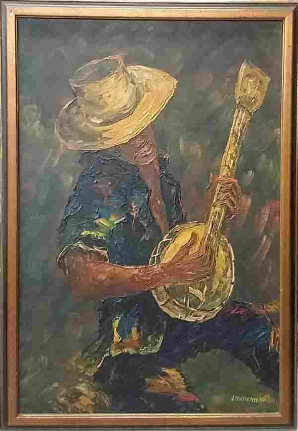 Large Lionel Lauranceau Haitian Oil On Canvas