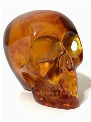 Ornate Hand Carved Solid Burmese Amber SKULL
