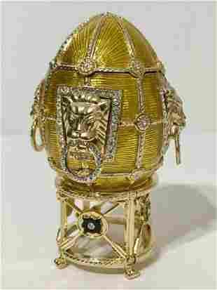 Stunning Signed FABERGE Lion Motif Enameled Egg