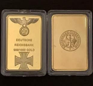 1oz .999 German Gold Clad Deutsche REICHSBANK Bar