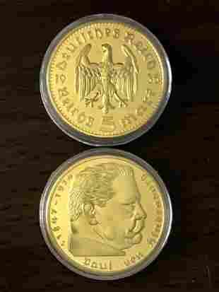 1934 P.V. Hindenburg German 1oz Gold Clad Round