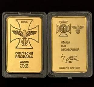 39 ADOLF HITLER Relief .999/1000 Gold clad Bar