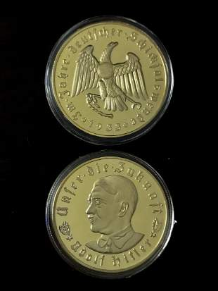 1933 Adolf Hitler Gold Clad Relief Encapsulated Coin