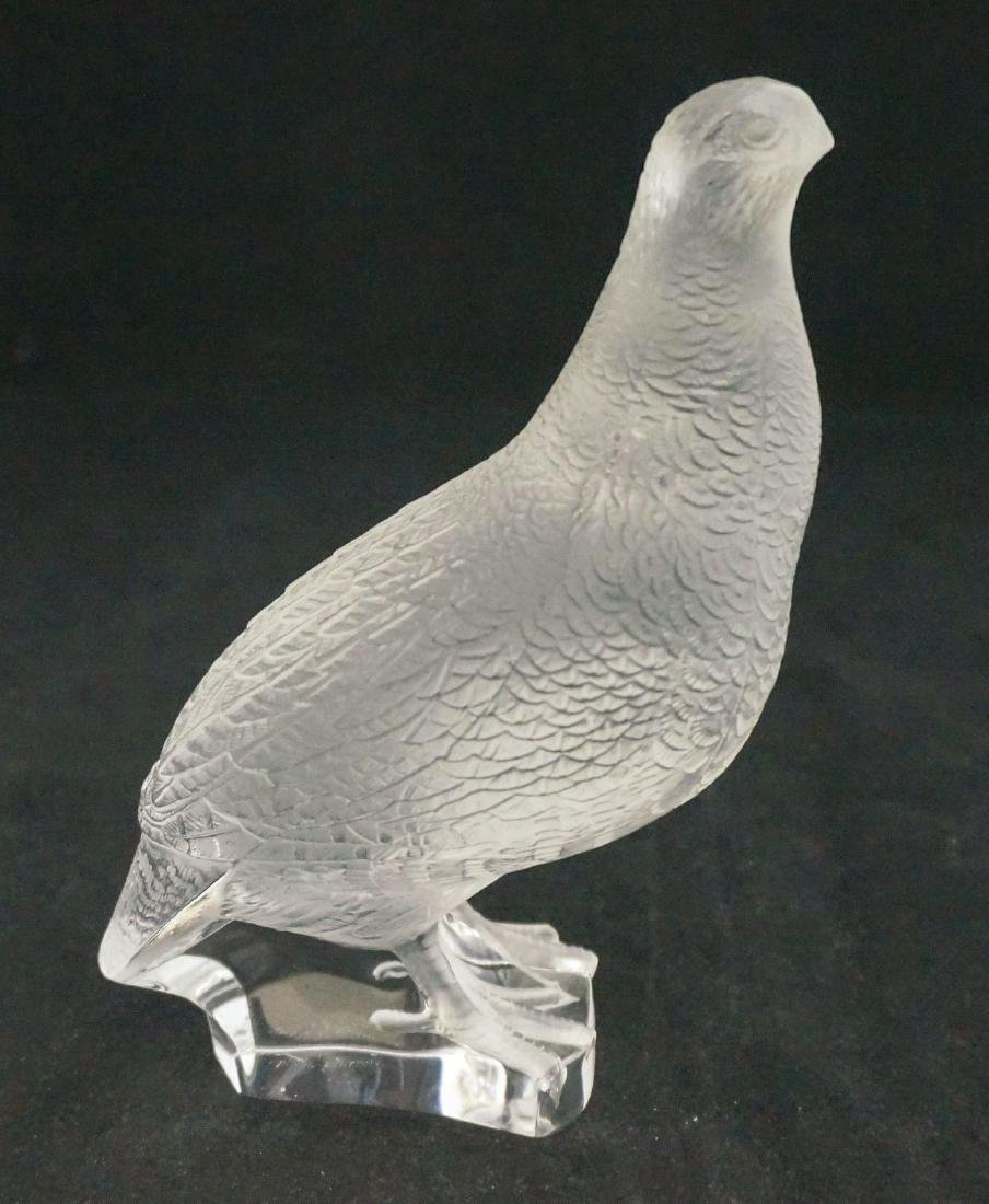 Lovely Signed Lalique French  Crystal Quail