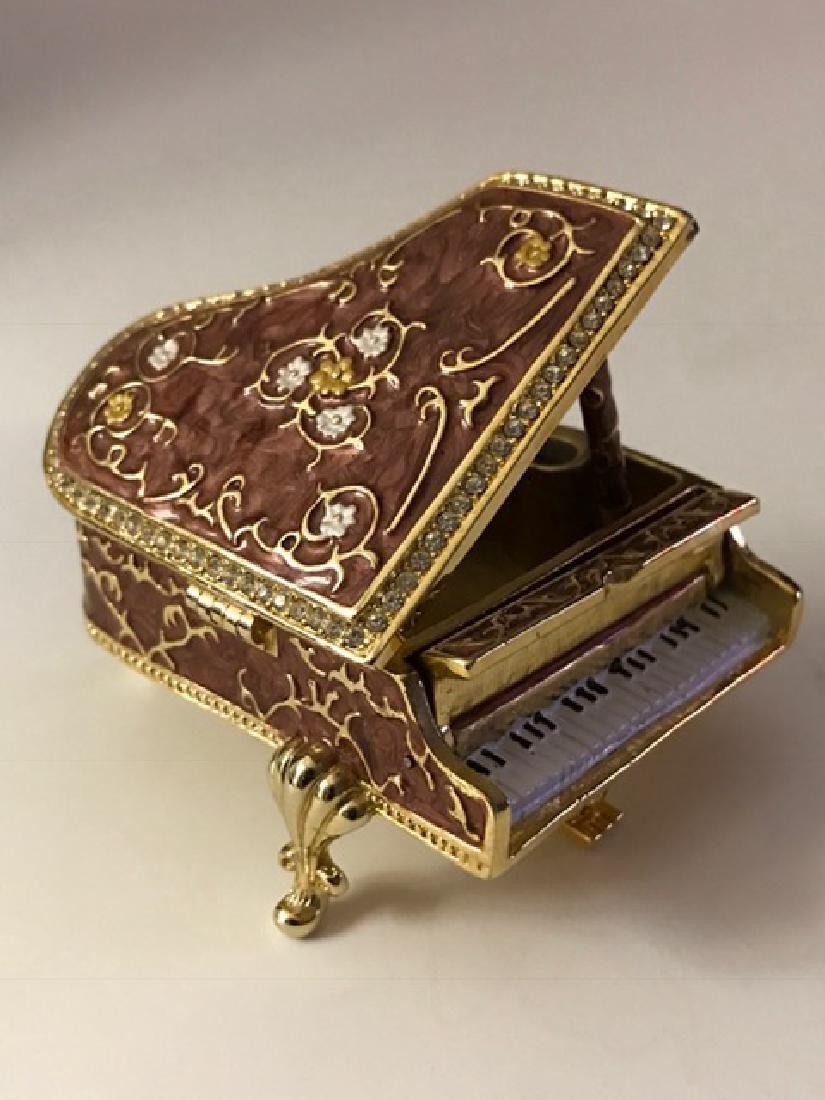Beautiful Jeweled & Enameled Piano Trinket Box