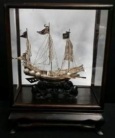 Incredible  Solid Sterling Pirate Ship Sculpture