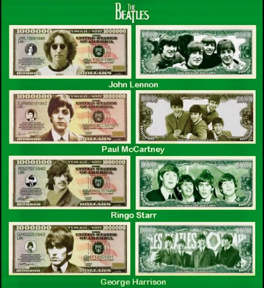 "Lot of 4 ""The BEATLES"" Currency Funny Money Bills"