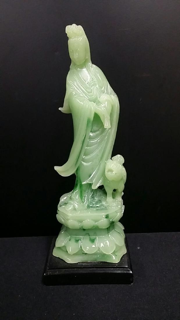 Oriental Godess Figure on Wood Base