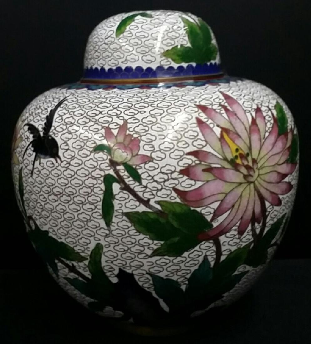 Vintage Chinese Cloisonne Ginger Jar