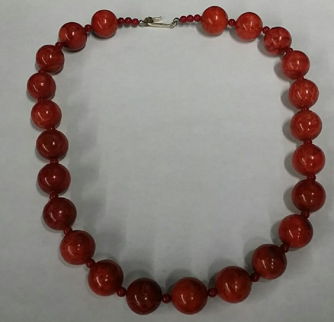 Large Natural Coral Bead Necklace