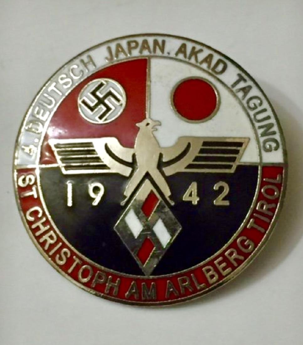 German Nazi WW2 Enameled Japanese Alliance Pin