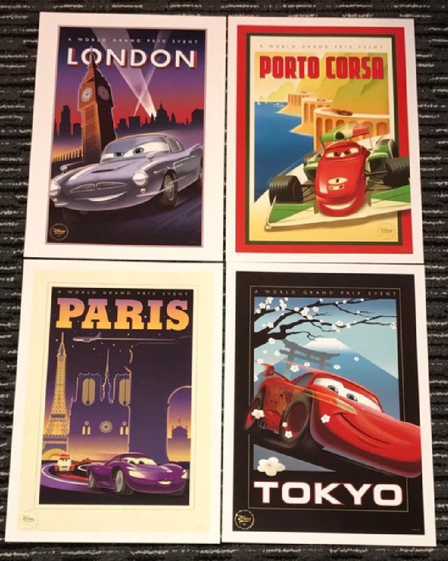 Lot of 4 Disney's CARS Movie Lithographs w/COA