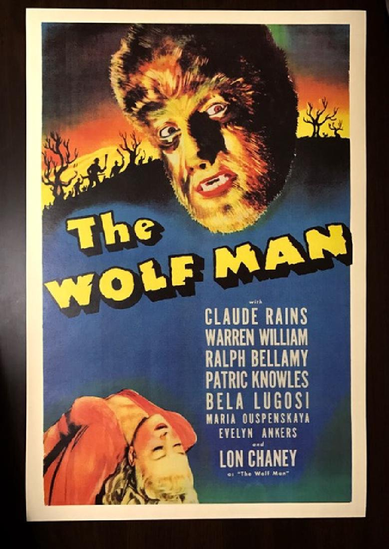 1941 The WOLF MAN Movie Theatre Lobby Poster