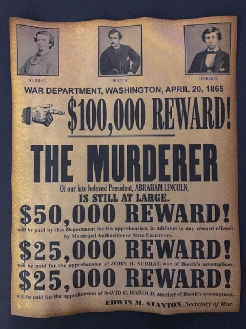 1865 Abraham Lincoln's Murder Reward Poster