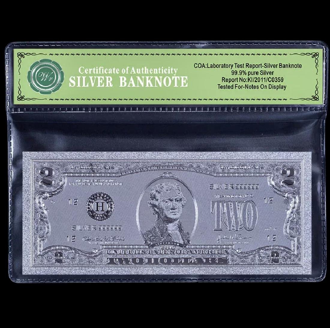 Uncirculated 99.9 % Silver Banknote $2 Bill
