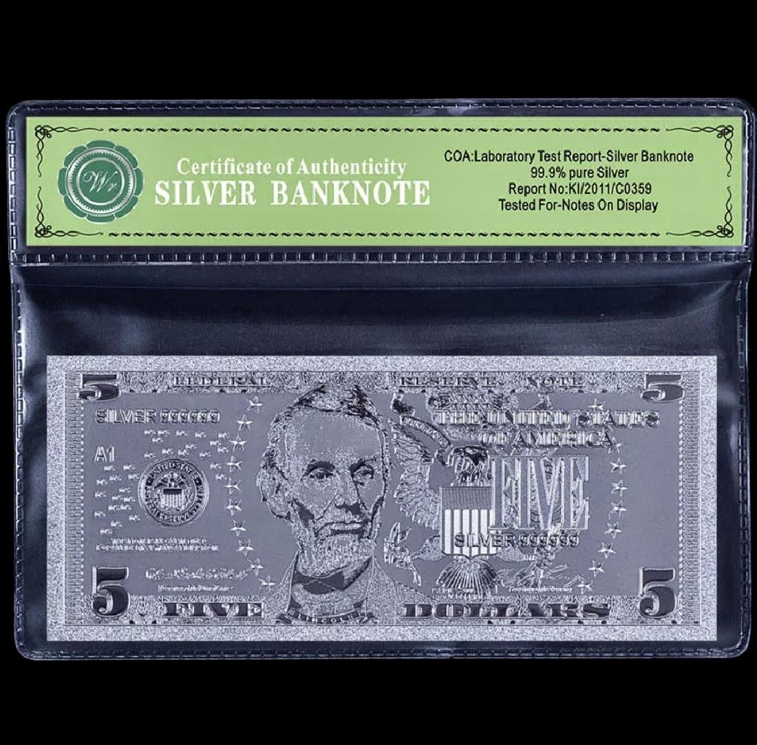 Uncirculated 99.9 % Silver Banknote $5 Bill