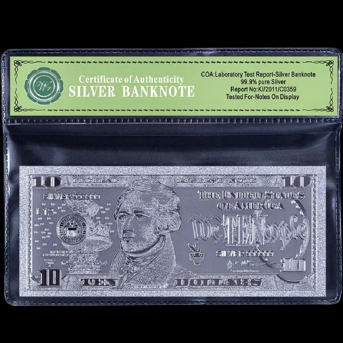 Uncirculated 99.9 % Silver Banknote $10 Bill