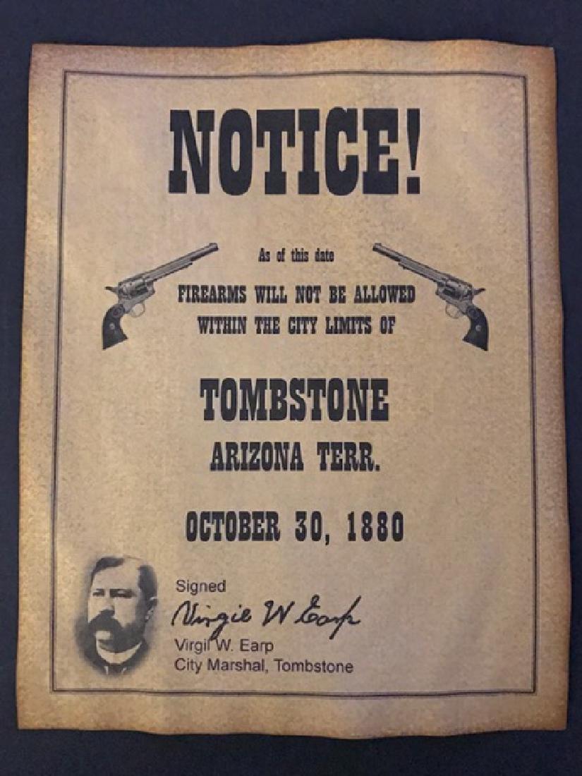 1880 Tombstone Firearms Notice Poster/Virgil Earp