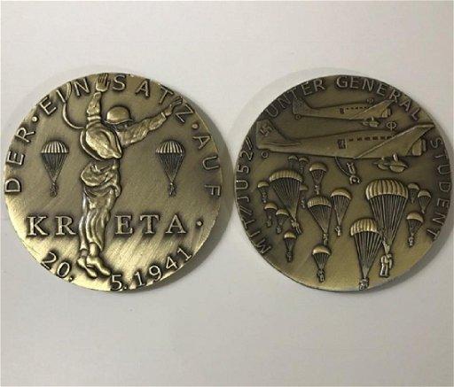 Solid Bronze 1941 WW2 Nazi German KRETA Medallion