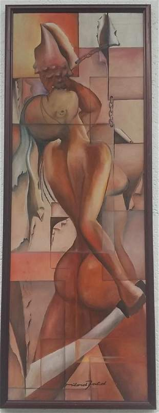 Artist Signed Nude Woman Oil Painting