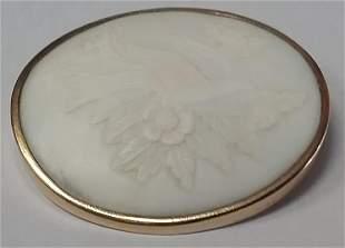 Vintage 10k Gold & Angel Skin Coral Cameo