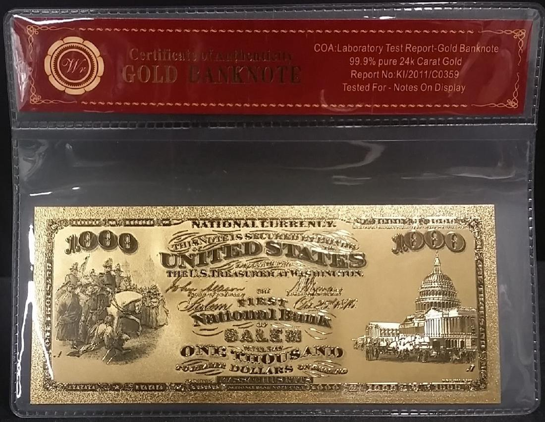 1875 Lab Tested Pure 24k Gold $1000 U.S. Banknote
