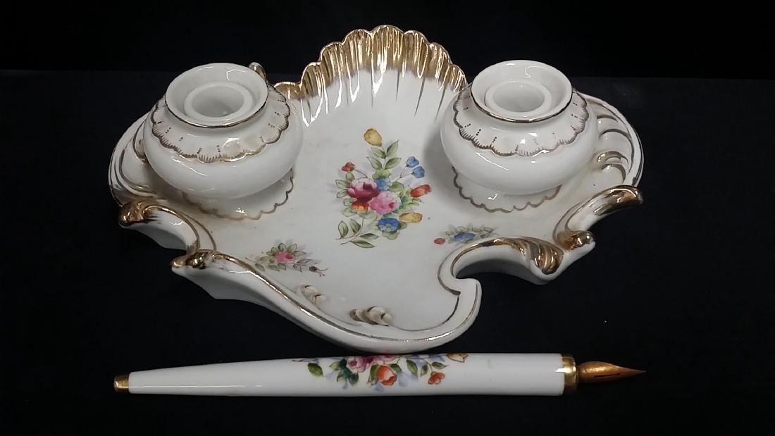 Vintage Meissen Style Porcelain Inkwell