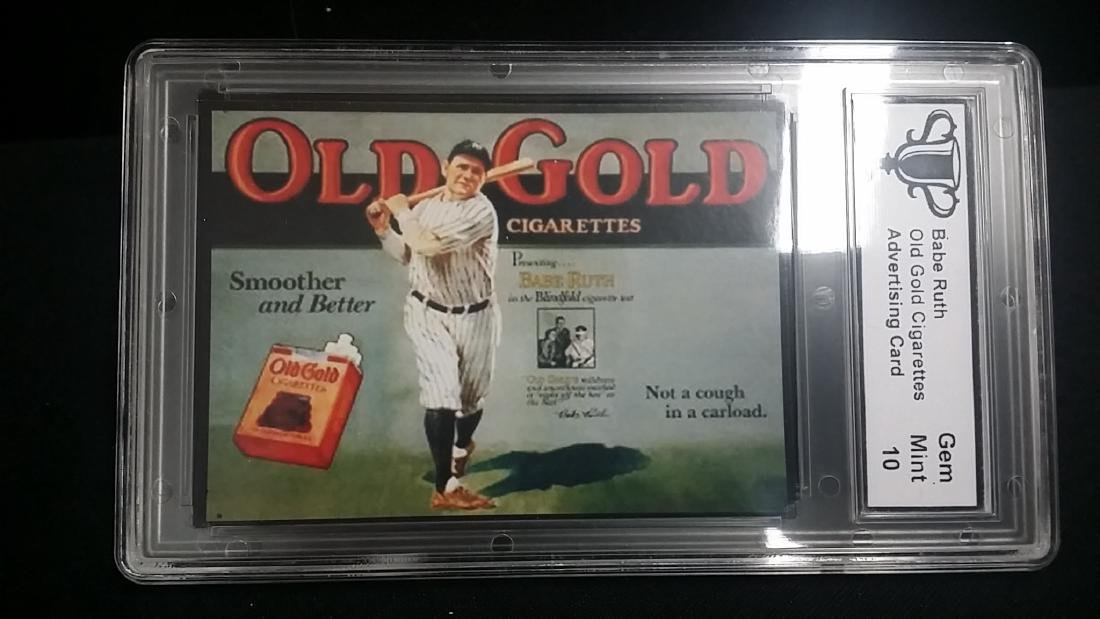 Babe Ruth Old Gold Gigarettes Advertising Card