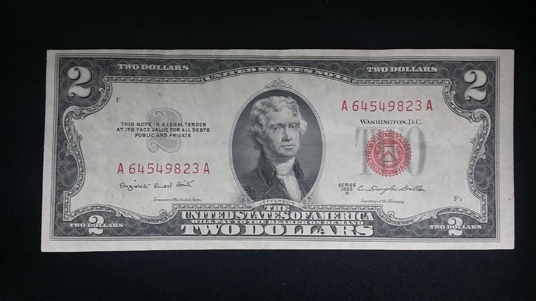 Beautiful Almost Uncirculated 1953 Red Seal $2 Note