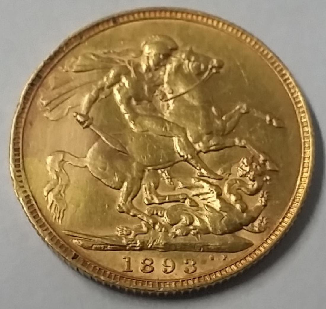 1893 British Gold Sovereign Coin