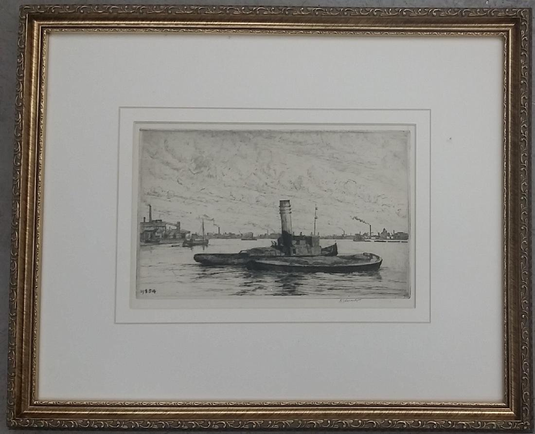 Vintage Pencil Signed Framed Etching