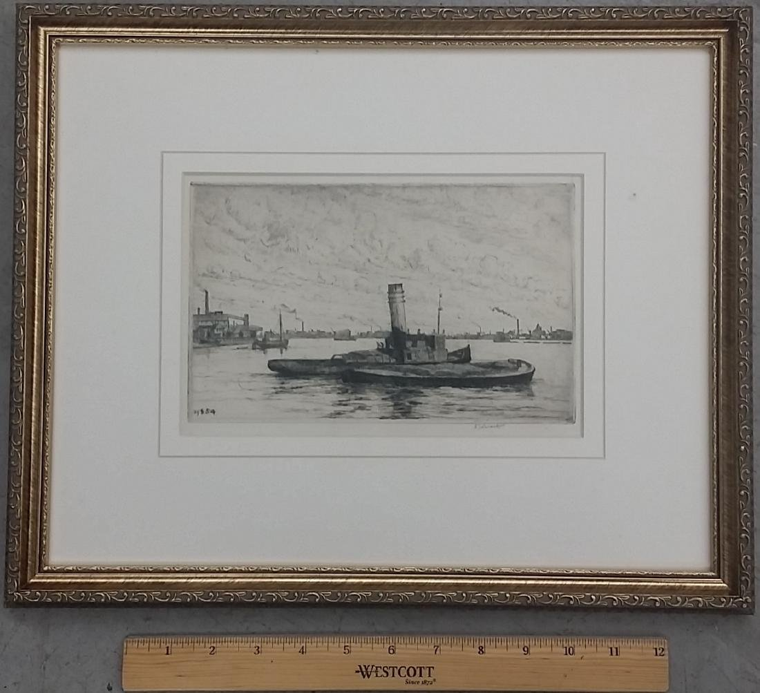 Vintage Pencil Signed Framed Etching - 2