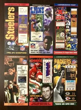 Lot of 6 LTD Edition Historic Football Game Tickets
