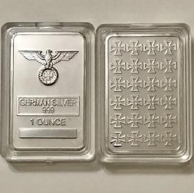 1oz .999 German Silver Iron Cross Bullion Bar