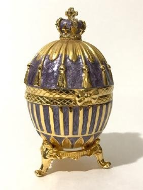 Russian Enameled FABERGE style Coronation EGG