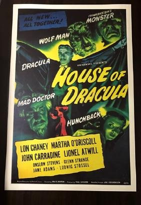 1945 House of Dracula Movie Lobby Card Poster