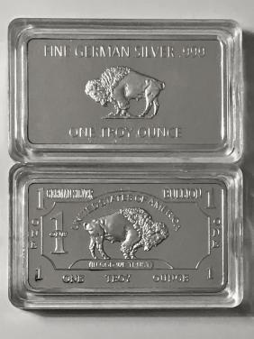 1oz .999 Fine German Silver Buffalo Bullion Bar